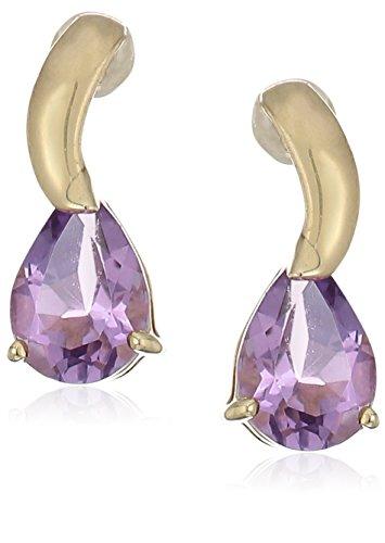 10K Yellow Gold Pear Shaped Gemstone Dangle Earrings