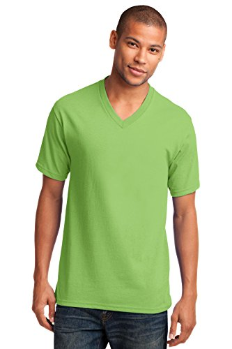 Port & Company Men's 54 oz 100% Cotton V Neck T Shirt S Lime