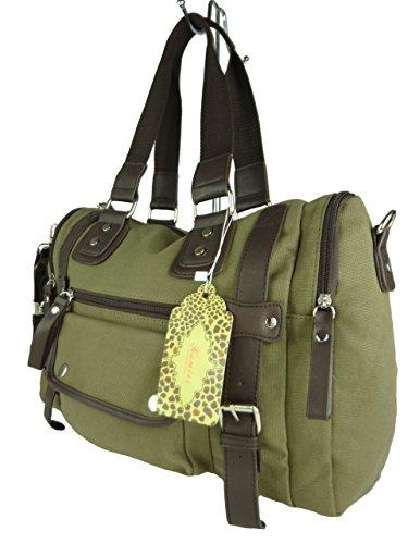 große Stofftasche, viele Fächer, Schulter-Trageriemen, ideal auch als Wickeltasche 43x30x13cm (grün)
