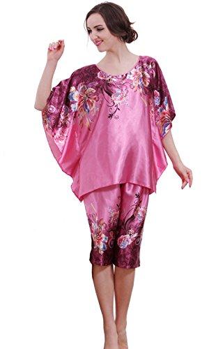 Olivery Womens Faux Silk Sleepwear 2 Pcs Top & Crop Pants Lingerie (Violet)