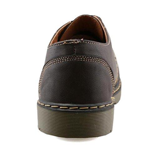 Oxford Zapatillas Athletic Lace-up transpirable de cuero puro Hombre elegante zapatos de lona casual casual de la UE 39-44 Brown