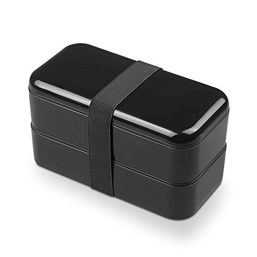 Bento Box Black - Leakproof Bento Lunch Box – Stackable Japanese Box Containers For Adults & Teen & Kids – Microwaveable/Dishwasher/Freezer Safe/FDA Approved
