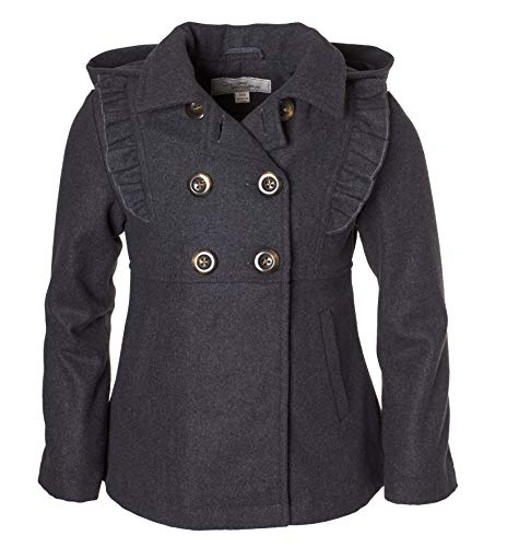 Cremson Girls' Wool Blend Hooded Ruffle Winter Dress Pea Coat Jacket - Charcoal (Size 4) ()