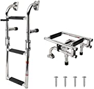 YaeTool 3 Step Stainless Ladder Foldable Stern Mount Rubber Step with Mounting Screws(7101S)