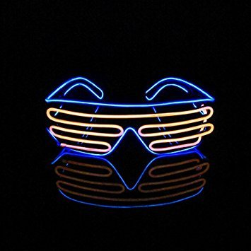 Aquat Light Up Shutter Neon Rave Glasses El Wire LED Sunglasses Glow Costumes For Party, 80s, EDM RB03