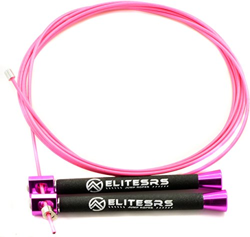 EliteSRS ELITE SURGE 2.0 Jump Rope - Upgraded Speed Handles - More Cable Types for Improved Double Unders (Pink/Pink Cable)