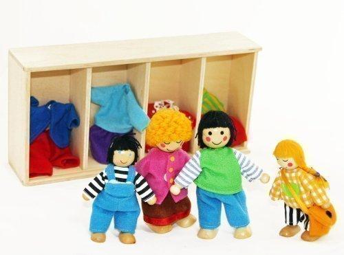 FREDA Puppenfamilie Biegepuppen Wechselkleider 4-teilig