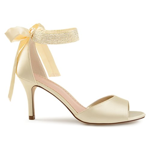 (Brinley Co. Belvie Satin Rhinestone Ankle Strap Open-Toe High Heels Cream, 5.5 Regular US)