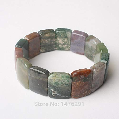 FOKLC Bracelet Charming 15X20MM Agates Rectangle Beads Stretchy Bracelet Bangle