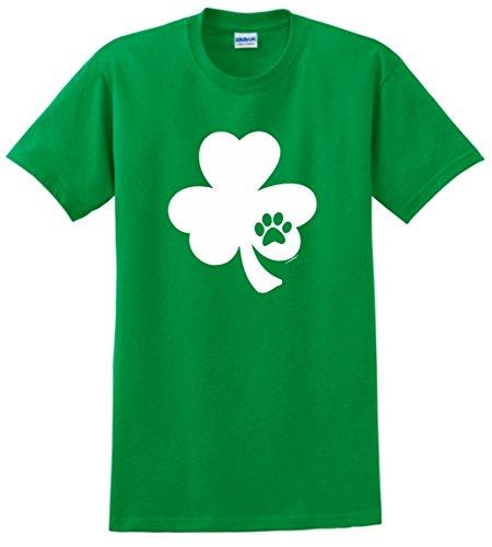 Funny St Patricks Day Gifts Shamrock Shirt Pawprint Shamrock Dog or Cat Lover St Patricks Day T-Shirt Medium Green