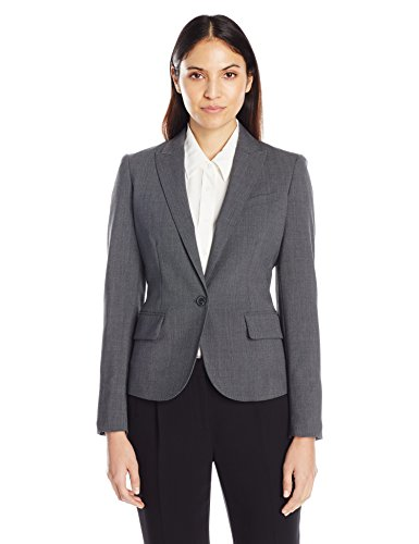Anne Klein Women's One Button Suit Jacket, Light Grey, 10