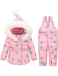 c348f8c1f Winter Children's Clothing Set Kids Ski Suit Overalls Fashion Print Girls Down  Coat Warm Snowsuits Jackets