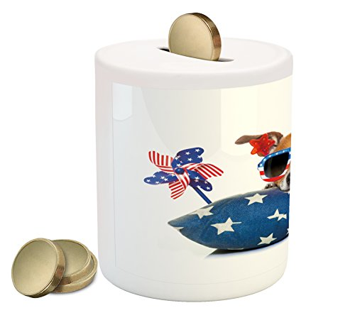 4th of July Coin Box by Lunarable, Jack Russell Celebrating Independence on an Old Glory Pillow with Sunglasses, Printed Ceramic Coin Bank Money Box for Cash Saving, - Glory Sunglasses