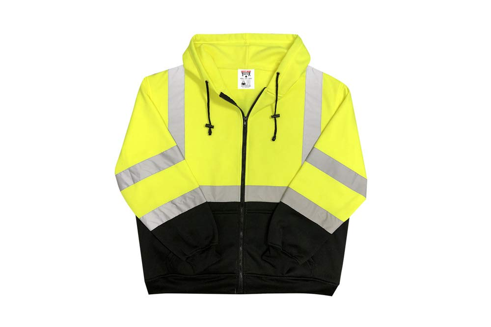 Safety Main Lightweight High Visibility Hooded Jacket, Large