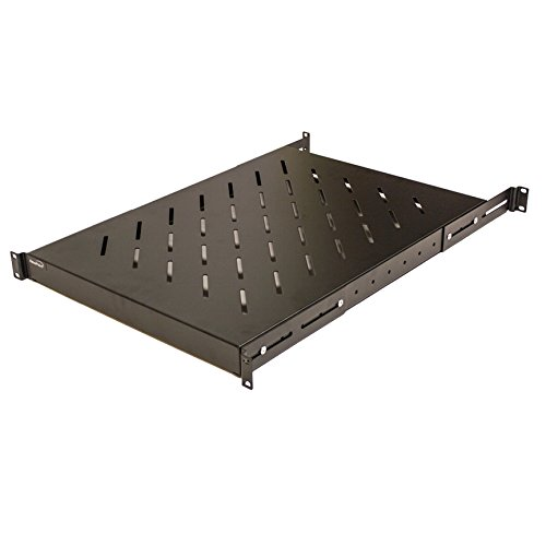 NavePoint 1U 19-Inch Fixed 4-Post Rack Mount Server Shelf With Adjustable Depth From 18-34