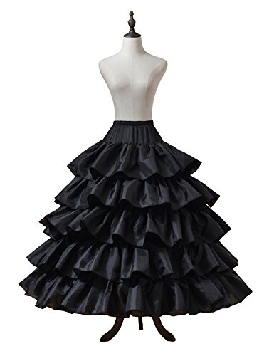 Remedios 4 Hoops Wedding Petticoat Ruffled Ball Gown Underskirt Crinoline Half Slip,Black L-XL(US14W-24W)
