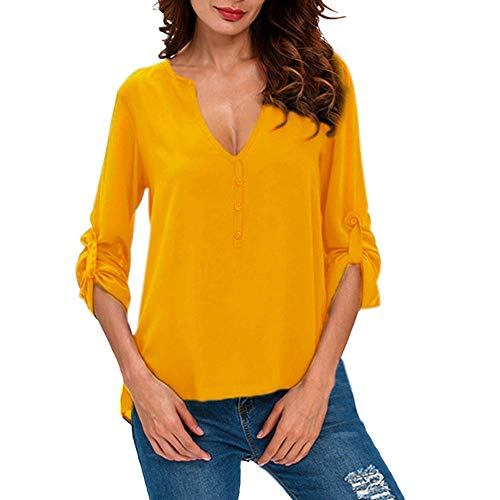 HIRIRI Ladies Solid Color Low Cut Shirt Long Sleeve Elastic Women Blouse Casual Stylish Button Up Tank Top Yellow