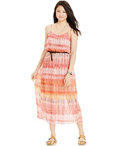 American Rag Juniors Pleated Print Maxi Dress (Tribal Ikat, Small)