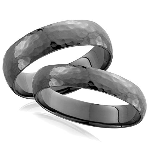 His Hers Black Gold Hammered Wedding Band Set - Size Women's 6 / Men's 10 ()