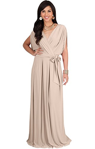 Koh Koh Womens Long Formal Short Sleeve Cocktail Flowy V Neck Casual Bridesmaid Wedding Guest Evening Cute Gown Gowns Maxi Dress Dresses For Women  Tan Light Brown L 12 14  1