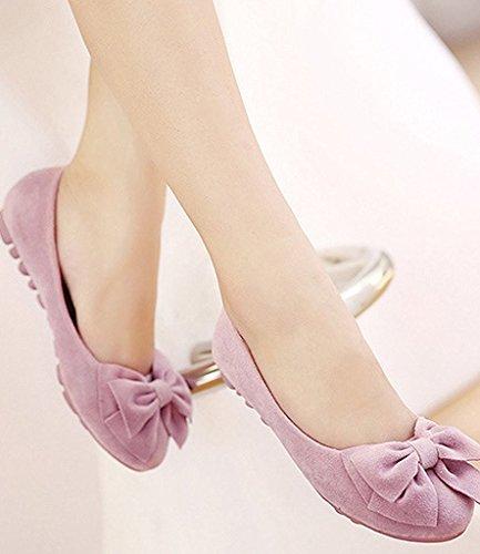 Minetom Mujer Primavera Otoño Dulce Estudiante Mocasines Punta Redonda Bowknot Bailarinas Zapatos Mocasín Rosa