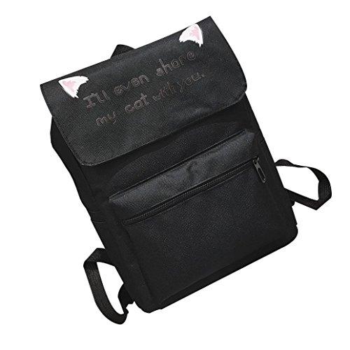 OverDose Coton Backpack Nylon Tote Scolaire à Cartable Femme Fille Bag Bag Mode Sac Noir Sacs School Dos Voyage 7xB8q17