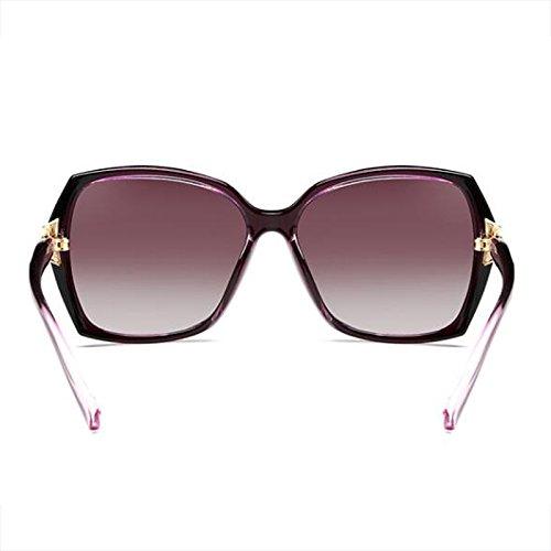 Cara Bright de oscuro Gafas Morado cuadradas sol femeninas larga redonda Resina Gafas de Polarizer Color Face UV Big black Cara de WLHW protección sol Glasses Elegante wxBZqf4