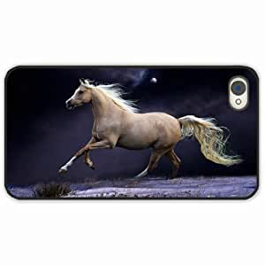 Diy Yourself Apple iPhone 4 4S case covers Customized Gifts Of Animals horse mane running beautiful night sky Black WfmokIcXXyP