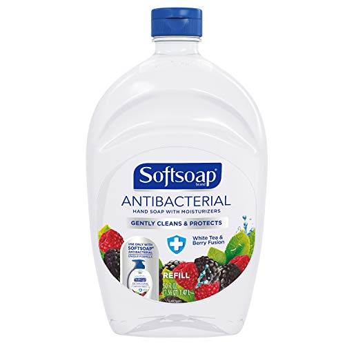 - SOFTSOAP Antibacterial Liquid Hand Soap Refill, White Tea and Berry Fusion, 50 Ounce Bottle, Bathroom Soap, Bulk Soap, Moisturizing Antibacterial Hand Soap