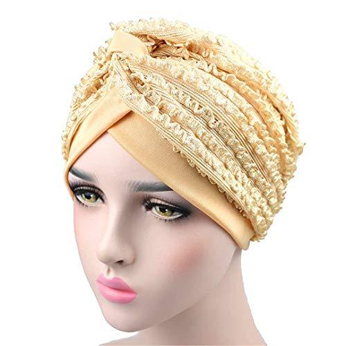 (NVUNDG Women Turban Summer Breathable Lace Mesh Insert Headwear Muslim Headband Hair Accessories)