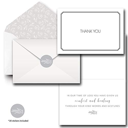 Funeral Sympathy Thank You Cards with Decorative Envelopes - Set of 20 cards - Includes Stickers to close Envelope