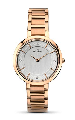 Accurist Ladies Analogue Watch With Silver Dial And Rose Gold Bracelet 8152 (Watch Accurist Ladies)