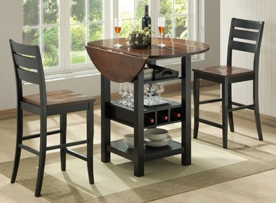 Bernards Ridgewood Drop Leaf with Wine Rack Table, Black and Mahogany Finish