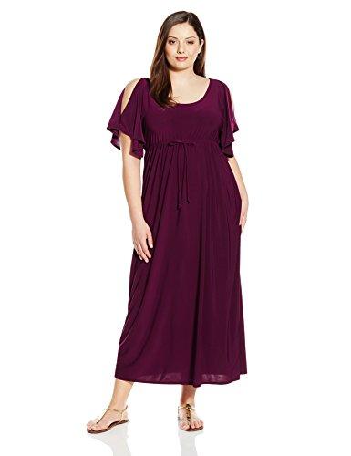 Star Vixen Women's Plus-Size Slit Flutter Sleeve Maxi Dress with Empire Drawstring Waist, Purple, 2X ()