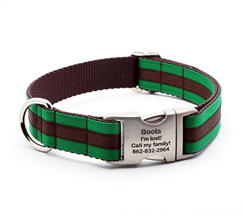 Stripes Personalized Chocolate (Preppy Layered Stripe Dog Collar with Personalized Buckle - Emerald/Chocolate - Extra Large (1