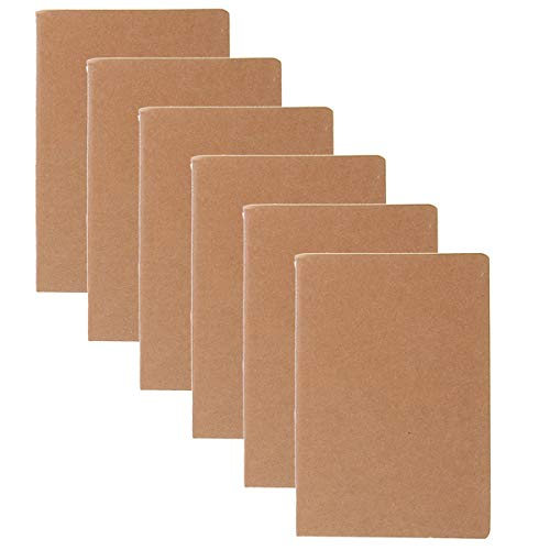 Paper Craft (6 Pack) Pocket Notebook, Journal to Write in Set, 3.5 x 5.5 Mini Notebook, Travel Journal, Ruled and Stitched Journals Bulk