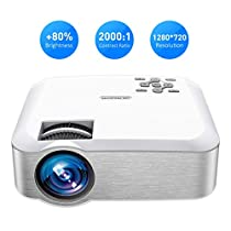 Mpow Projector, Mini Projector with 1080P Supported Portable Projector 3600 Lumens ±45° Vertical Keystone Correction Multimedia Movie Gaming HomeCinema LED Video Projector with Tripod Compatible with HDMI/VGA/USB/PC/iPhone/Smartphone/PS3/PS4 etc