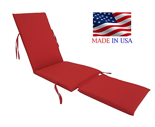 Made in USA Outdoor Sunbrella Canvas Jockey Red #5403 Steamer Chair Replacement Cushion Pad