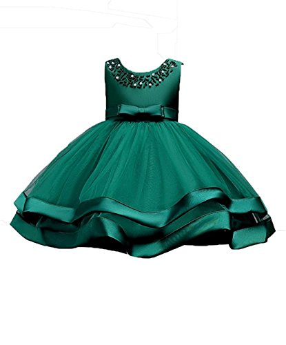 Lime Green Bridal Dresses - Little Girl Summer Dresses for Toddler Girls Knee Length Special Occasion Dress Size 2 Elegant Apple(Mint Lime)Green Flower Girl Dresses Sleeveless Ruffle Christmas Communion Bridal Dress (Green 100)