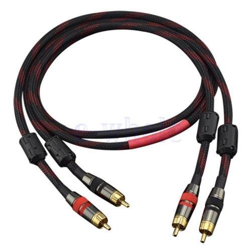 FidgetFidget Amplifier Cord 75cm HiFi Copper Stereo 2×RCA to 2×RCA Male Audio Signal Cable GL by FidgetFidget