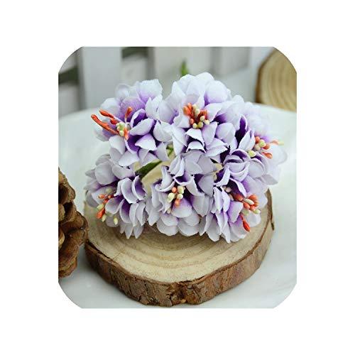 60pcs Gradient Stamen Rose Artificial Flower Bouquet Wedding Decoration Wreath,Purple -