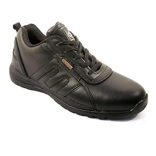 MENS SAFETY TRAINERS SHOES BOOTS WORK STEEL TOE CAP HIKER ANKLE BLACK LEATHER (9 UK)
