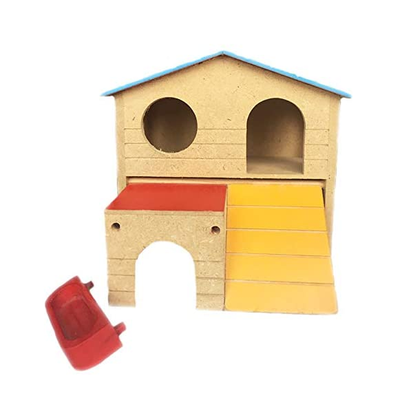 kathson Pet Small Animal Hideout Hamster House with Funny Climbing Ladder Deluxe Two Layers Wooden Hut Play Toys Chews for Small Animals Like Dwarf Hamster and Mouse 4
