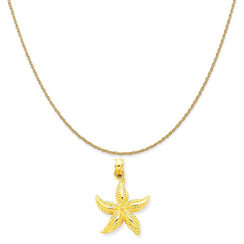 14k Yellow Gold Starfish Pendant on a 14K Yellow Gold Rope Chain Necklace, 16