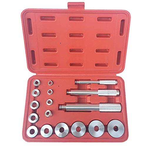 XGao 17pcs Auto Bearing Race Seal Driver Disc Install Tool Master Set Axle Bushing with Carrying Case 3 Drivers Handles 14 Adapters Collar Master Universal Aluminum Kit for Wheel Bearing (Silver)