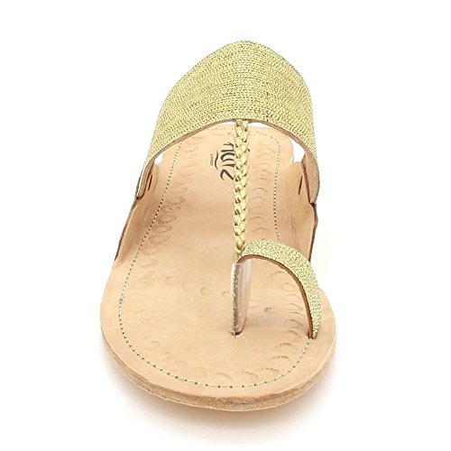 Slip Toe Open on Kolhapuri Donna Authentic In Aarz Comfort Chappal Oro Piatti Scarpe Sandali Pelle Glittery London Casual 8USzqwg7