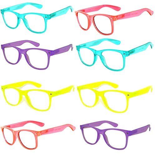 (8 Pairs Classic Vintage Clear Lens Sunglasses Colored Frame wholesale OWL)