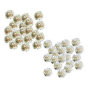 BROSCO 40Pieces Artificial Silk Peony Flower Head Buds DIY Crafts Cream Light Green 64