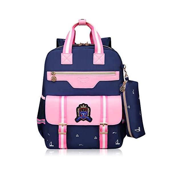 PROTAURI Zaino trolley per bambini per la scuola, impermeabile in nylon con ruote a sei ruote, blu rosa 1 spesavip