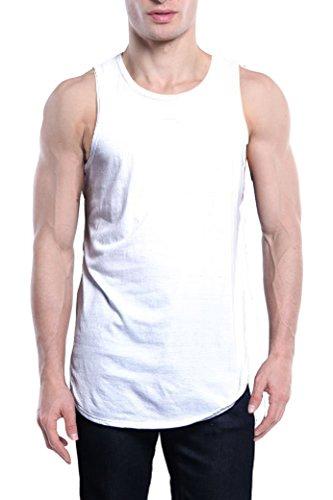 c76b67804369f YANWENFANG Men Undershirt Tank Tops Long Curved Hem Print Gym Jersey Hip  Hop Clothing